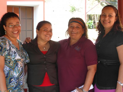 Barinia (center, right) with Damaris, Milagros, and Lilliam (left to right)