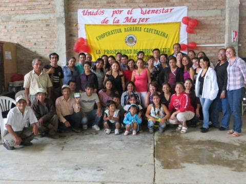 "Our standout partners in Peru with a banner that reads ""United for the well-being of women"""
