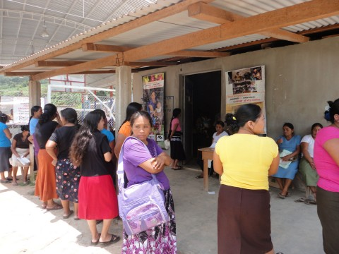 Women waiting to be screened in rural Mexico